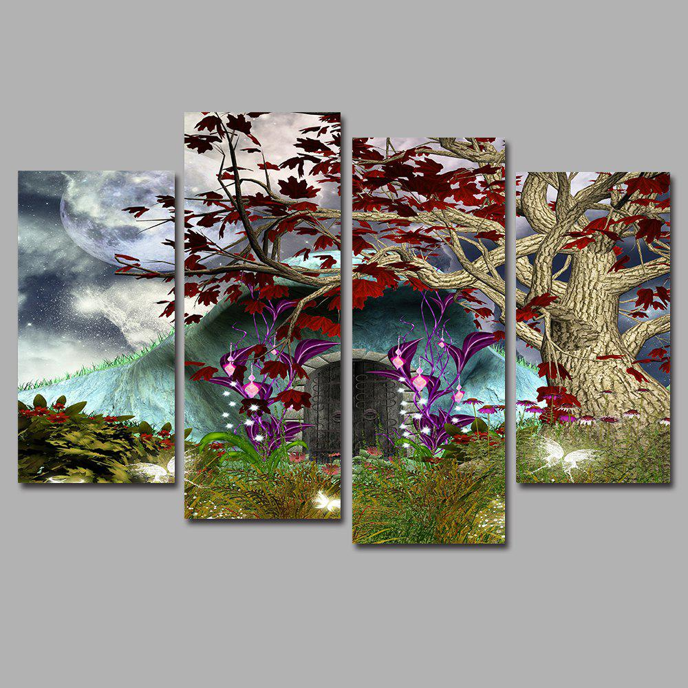 Fantasy Frameless Printed Canvas Art Print 4PCS - multicolor A