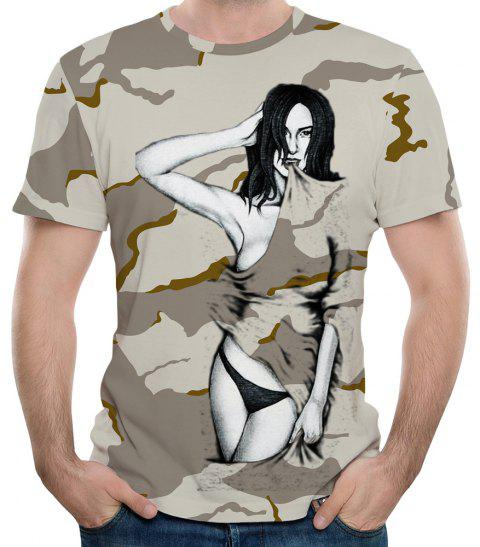 New Summer Fashion 3D Printed Men's Short Sleeve T-shirt - DIGITAL DESERT CAMOUFLAGE M