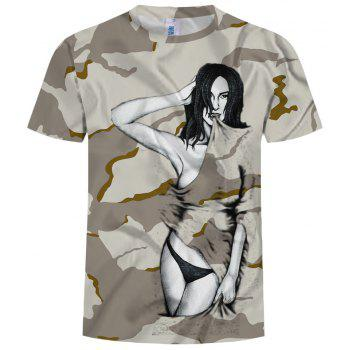 New Summer Fashion 3D Printed Men's Short Sleeve T-shirt - DIGITAL DESERT CAMOUFLAGE S