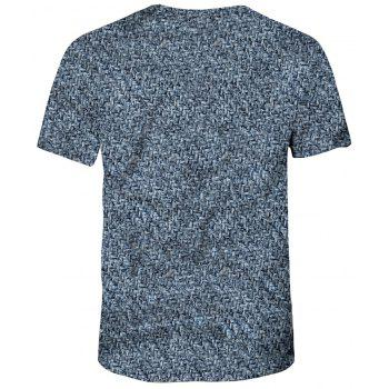 New Summer Fashion 3D Printed Men's Short Sleeve T-shirt - STEEL BLUE L
