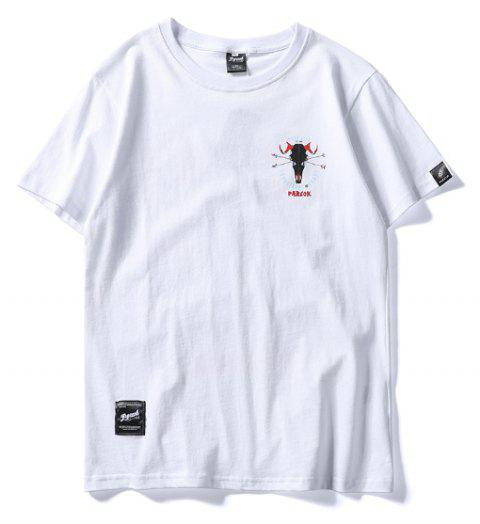 Men  Casual Print  Short Sleeve Breathable T-shirt - WHITE M