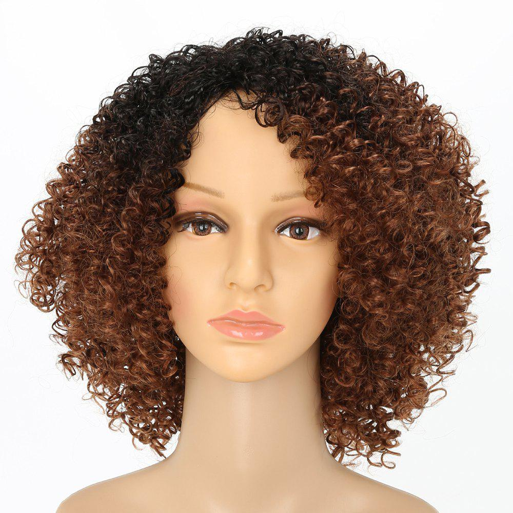 Afro Curly Hair Ombre Fluffy Fashion Short Synthetic Wigs for White Girls charming short blonde synthetic wavy hair wigs for white girls