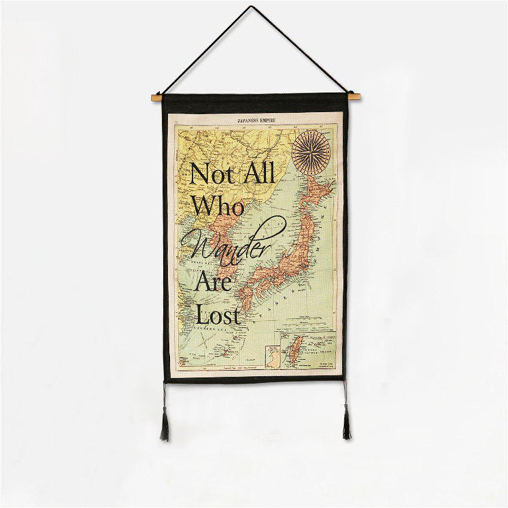 Retro Style World Map Pattern Hanging Paintings Wall Decoration