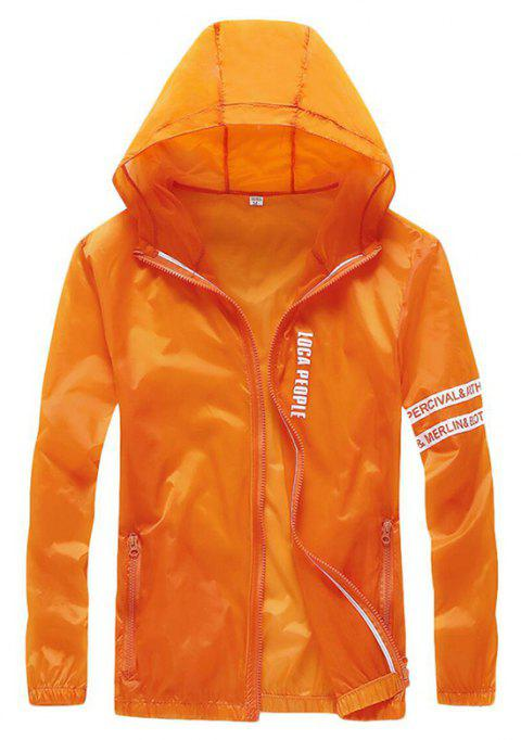 Men Outdoor Sport UV Sun Protection Quick Dry Slim-Fit Thin Transparent Jacket - ORANGE L
