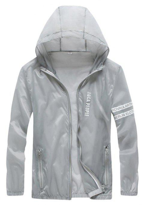 Men Outdoor Sport UV Sun Protection Quick Dry Slim-Fit Thin Transparent Jacket - LIGHT GRAY XL