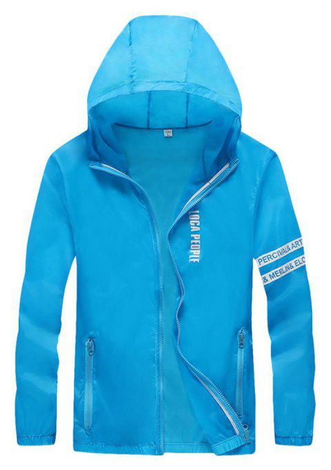Men Outdoor Sport UV Sun Protection Quick Dry Slim-Fit Thin Transparent Jacket - DEEP SKY BLUE M