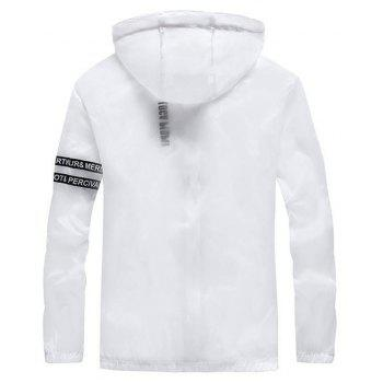 Men Outdoor Sport UV Sun Protection Quick Dry Slim-Fit Thin Transparent Jacket - WHITE 2XL