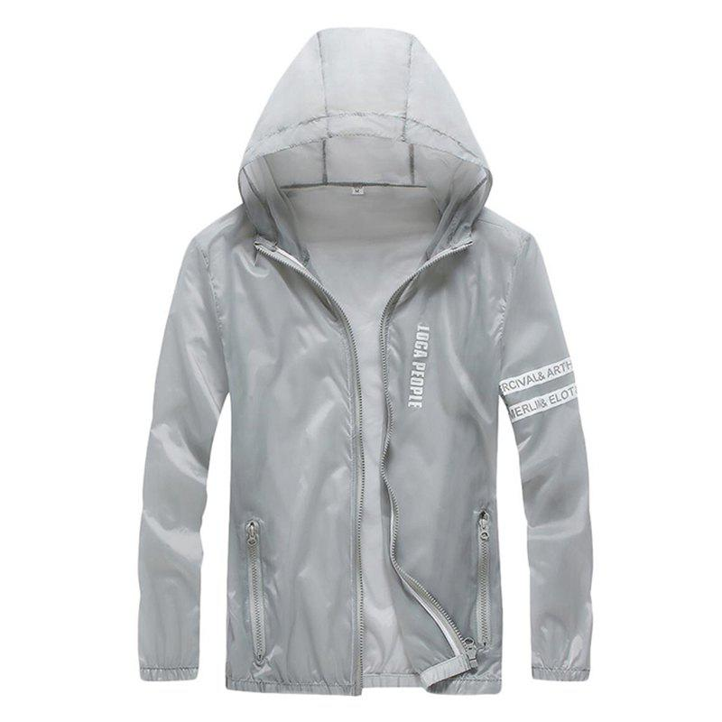 Men Outdoor Sport UV Sun Protection Quick Dry Slim-Fit Thin Transparent Jacket - LIGHT GRAY L