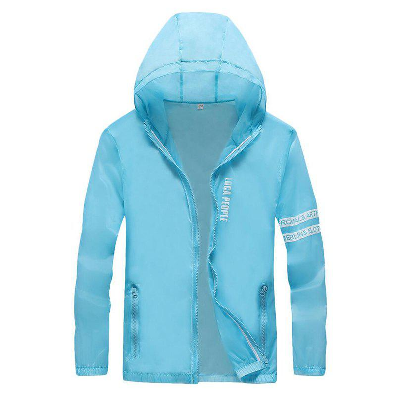 Men Outdoor Sport UV Sun Protection Quick Dry Slim-Fit Thin Transparent Jacket - LIGHT BLUE XL