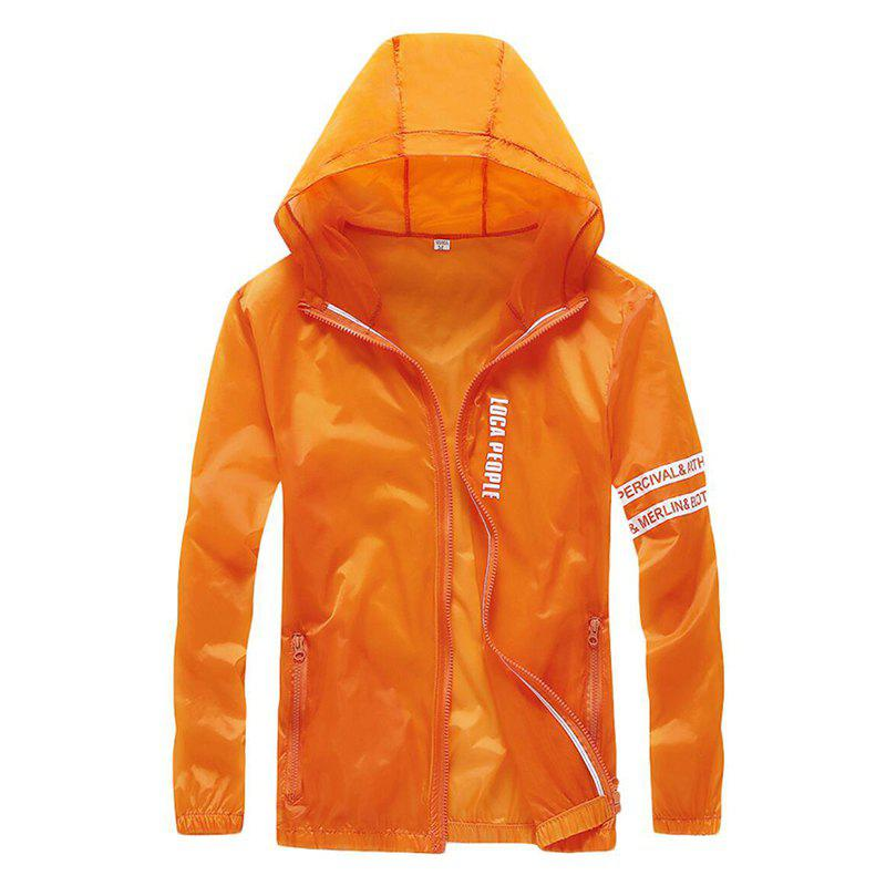 Men Outdoor Sport UV Sun Protection Quick Dry Slim-Fit Thin Transparent Jacket - ORANGE XL