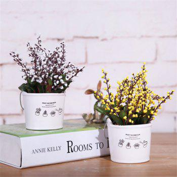 Bucket Auspicious Fruit False Bonsai Artificial Green Potted Plant 1pcs - WHITE