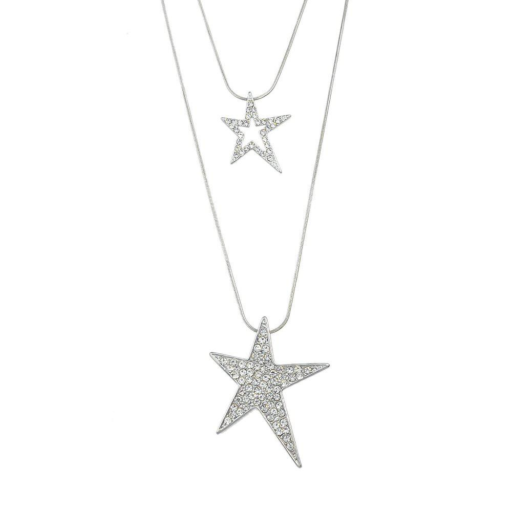 Silver Color Chain with Rhinestone Star Pendant Necklace rhinestone eye pendant chain necklace