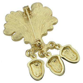 Antique Gold-color with Maple Hazelnut Brooch - GOLD