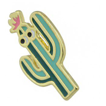 Gold-color with Green Pink Cactus Brooch - JUNGLE GREEN