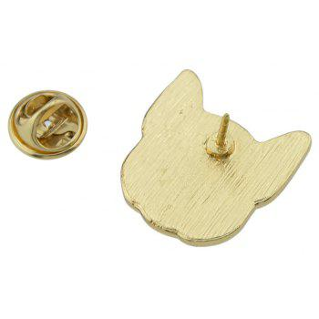 Gold-color with Black White Enamel Dog Brooch - WHITE