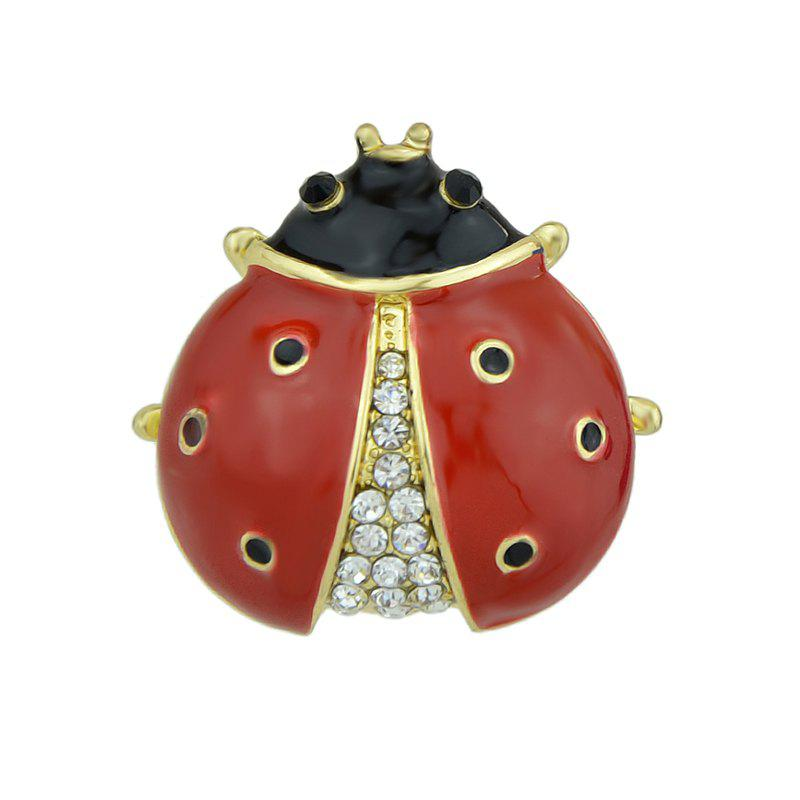 Red Black Enamel with Rhinestone Ladybug Brooch 110db loud security alarm siren horn speaker buzzer black red dc 6 16v