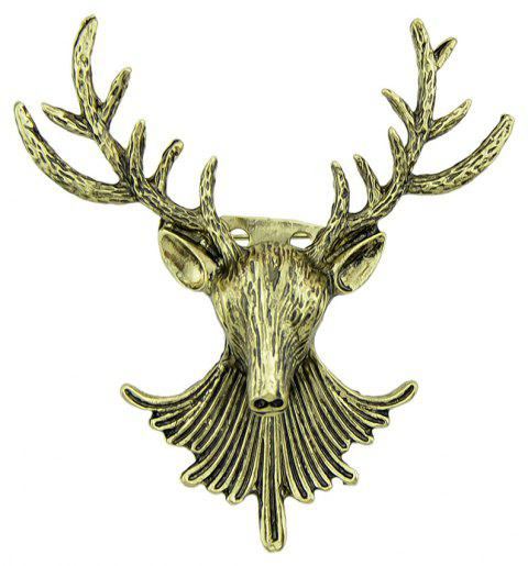 Antique Gold Color Antlers Deer Head Brooch - FALL LEAF BROWN