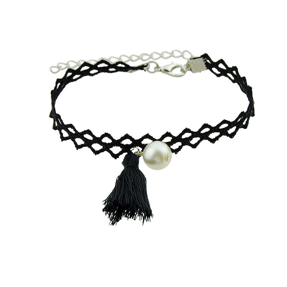 Black Color Hollow Out Chain with Tassel Charm Bracelet - BLACK