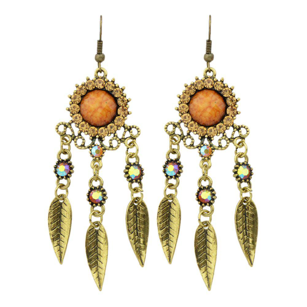 Colorful Rhinestone and Hollow Out Leaf Drop Earrings tear drop beaded hollow out rhinestone earrings