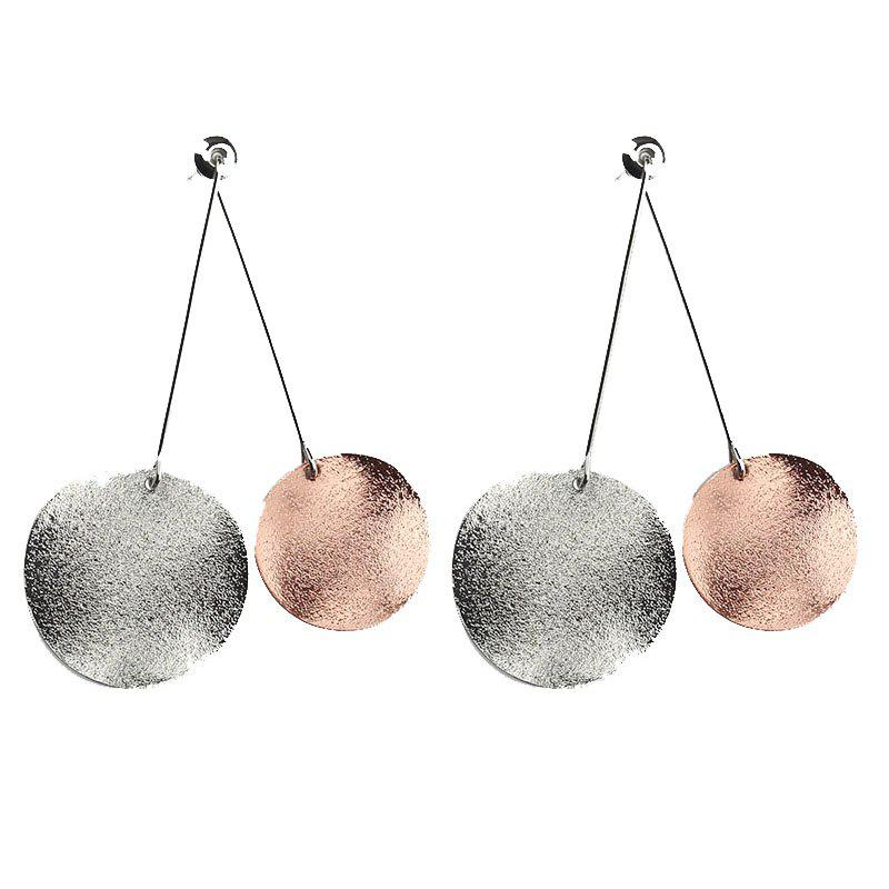 Simple Grinding Sand Texture Double Round Earring festo lbn 12 16 double earring support 6058