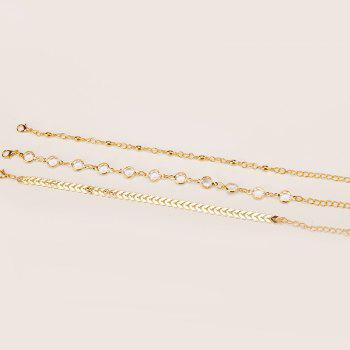 Summer Fashion Arrow Studded Three-Piece Anklet - GOLD