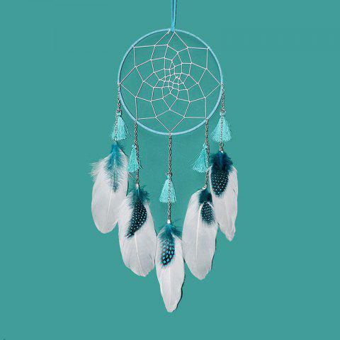 Creative Chain Feather Dreamcatcher Girl Bedroom Hanging Decorations - BLUE GREEN