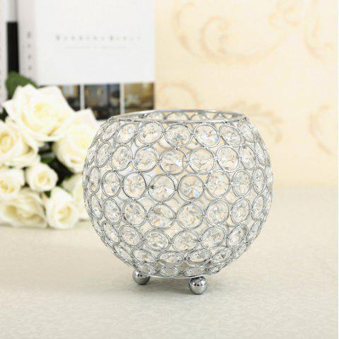 Crystal Candle Holder Tealight Candlestick Flower Vase Wedding Decorations - COOL WHITE 10CM X 10 CM