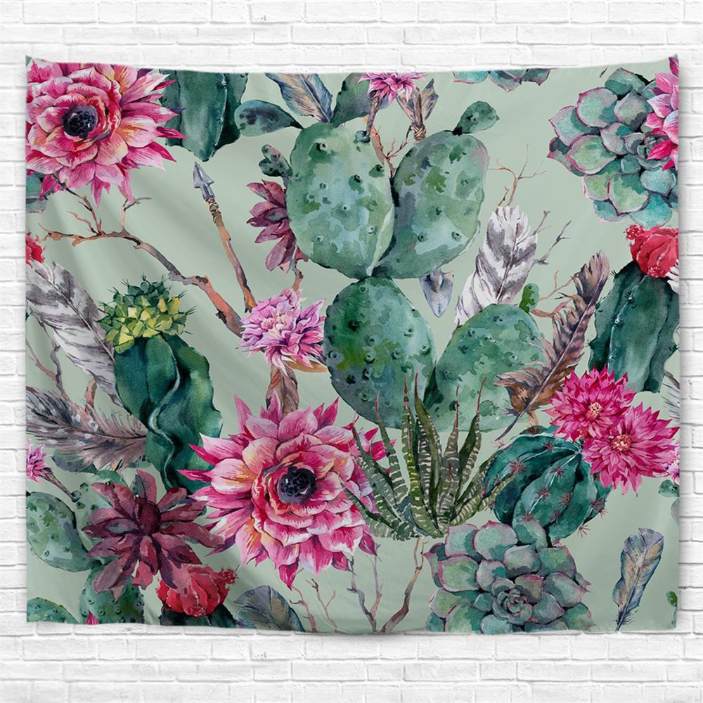 Floral Cactus 3D Printing Home Wall Hanging Tapestry for Decoration - multicolor A W153CMXL102CM