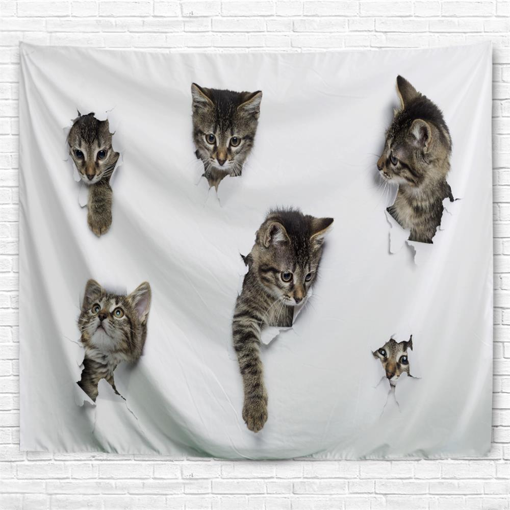 Breaking Paper Kitten 3D Printing Home Wall Hanging Tapestry for Decoration label paper hprt label thermal printing paper 60 30 1250pcs waterproof bar code printing paper sticker label printing paper