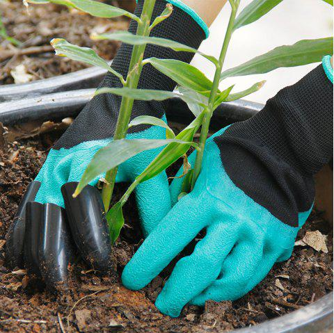 ABS Latex Right Hand Claws Gardening Gloves for Mining and Plant - MEDIUM TURQUOISE 1 PAIR