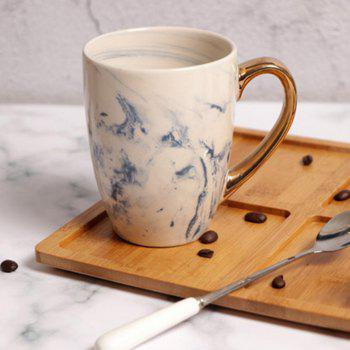 Creative Porcelain Marble Bronzing Handle Fashion Ceramic Gifts Coffee Cup - BLUE