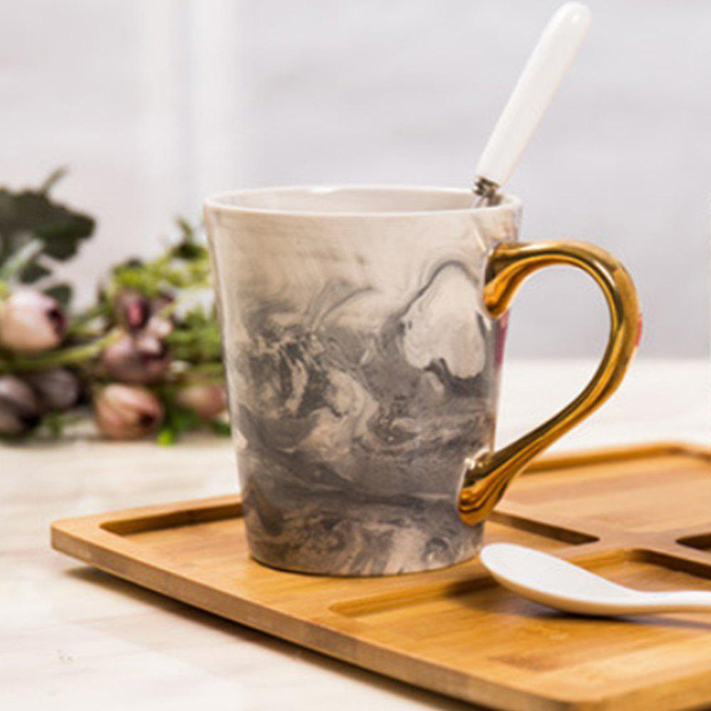 Creative Porcelain Marble Bronzing Handle Fashion Ceramic Gifts Coffee Cup - SLATE GRAY