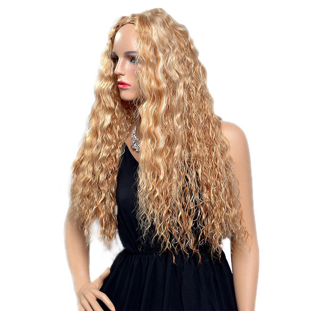 Women Fashion Blonde Corn Perm Long Curly Fluffy Heat Resistant Synthetic Wigs synthetic lace front long blonde curly wig for women beautiful looking high quality natural blonde wigs cheap heat resistant