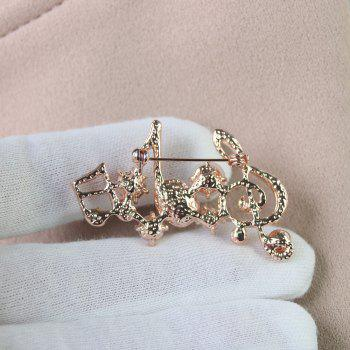 Unisex Classical Musical Note Brooch Pins Mosaic Rhinestone - multicolor