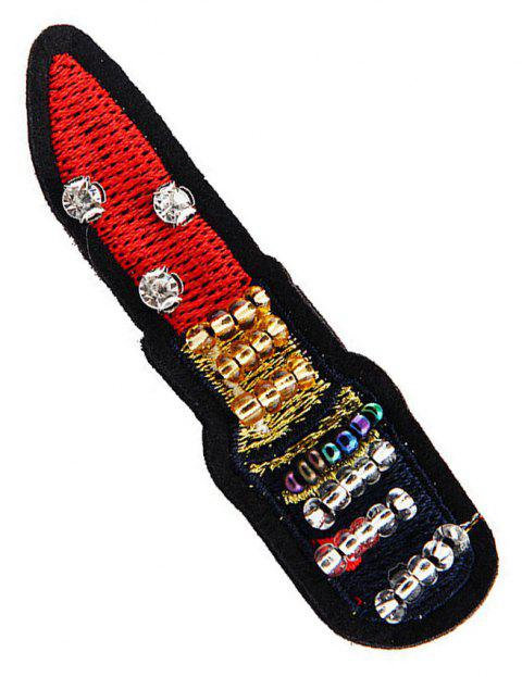 Women's Embroidery Beads Red Lipstick Style Fashion Brooch Pins - RED