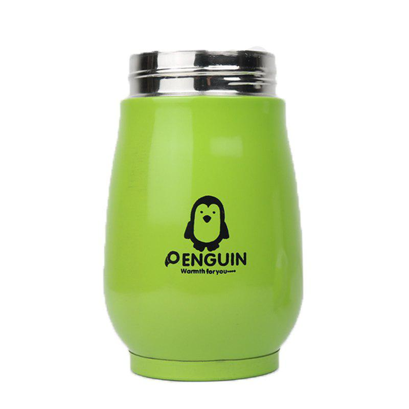 Candy Color Thermos Stainless Steel Penguin Vacuum Flask Cup for Children 250ml - GREEN