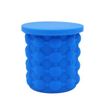 New Silicone Ice Bucket Lattice Home Refrigerator Cup - BLUE 13X13X14.5CM