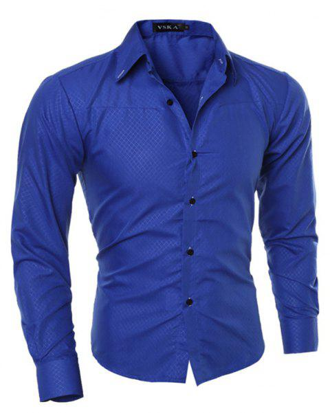 New Style Special SizeLong Sleeve Shirt - ROYAL BLUE 3XL