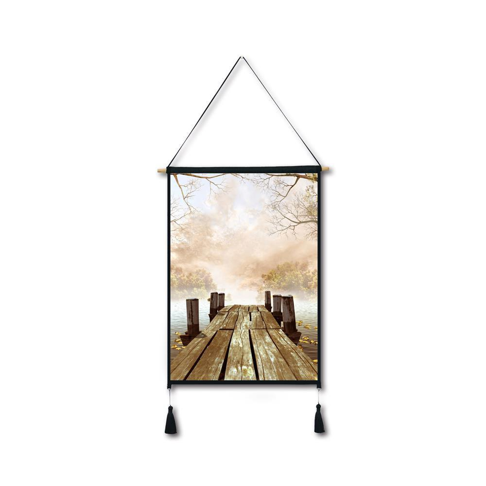 Lakeside Pier Tassel Hanging Painting Wall Decor Print