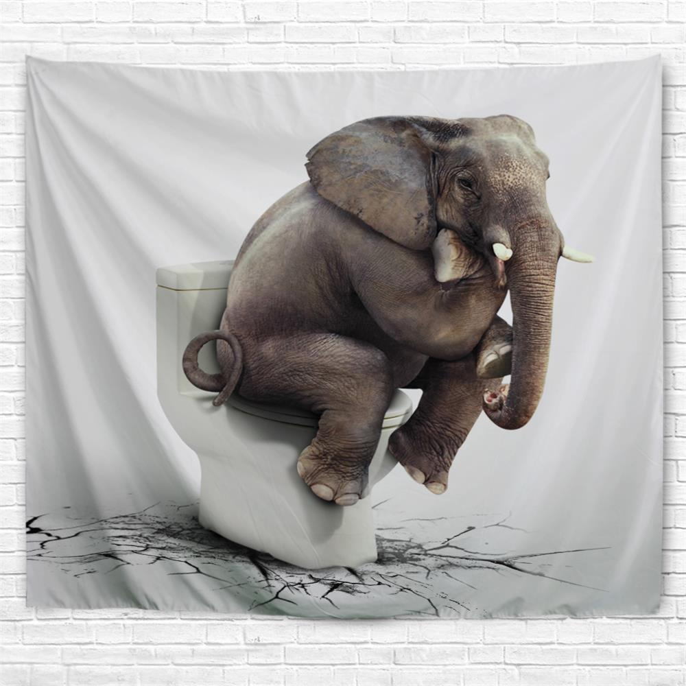 Elephant Thinker 3D Printing Home Wall Hanging Tapestry for Decoration - multicolor A W203CMXL153CM
