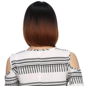 Fashion Short Black Brown Bob Natural Straight Hair Synthetic City Party Wigs - BROWN 12INCH