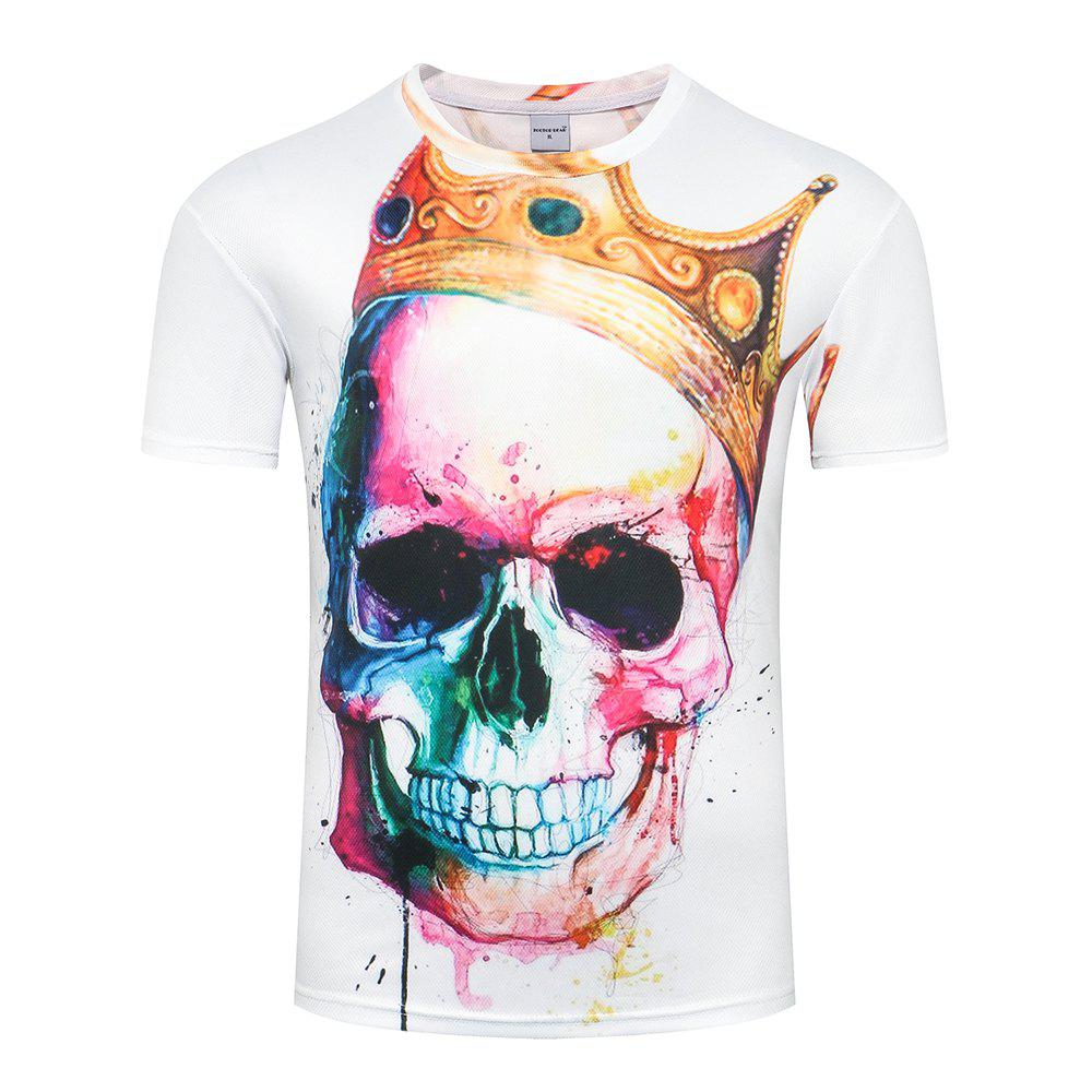 Men  Plus Size Casual 3D Graffiti Skull Print Short Sleeves T-shirt