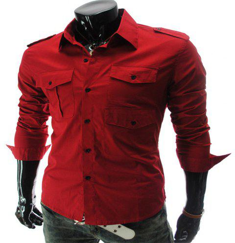 New Multi-Pocket Epaulettes Men's Luxury Slim Casual Long-Sleeved Shirt - RED 2XL