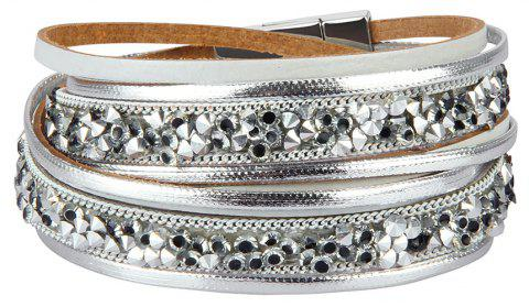 Fashion Accessories Multi-Layer Cowhide Diamond Magnet Clasp Bracelet - GRAY