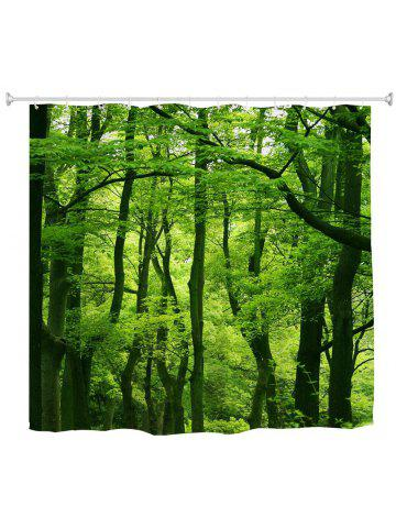 Green Forest Water-Proof Polyester 3D Printing Bathroom Shower Curtain 30c715c7e