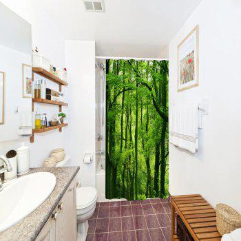 Green Forest Water-Proof Polyester 3D Printing Bathroom Shower Curtain - multicolor A W71 INCH * L79 INCH