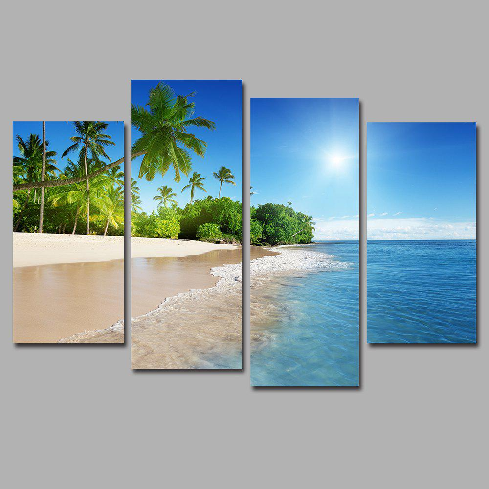 Blue Sky and Water Frameless Printed Canvas Art Print 4PCS blue sky and water frameless printed canvas art print 4pcs