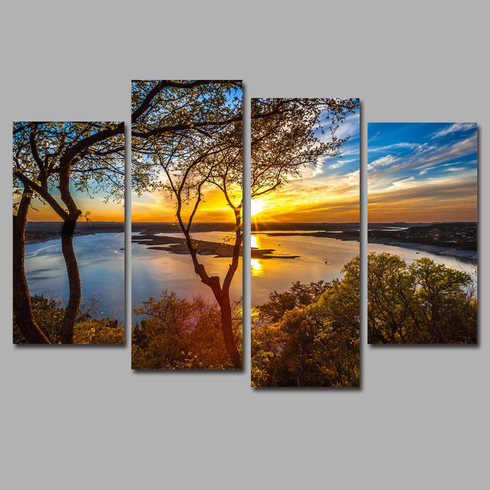 Waterside Sunset Frameless Printed Canvas Art Print 4PCS sunset frameless printed canvas wall art paintings 4pcs