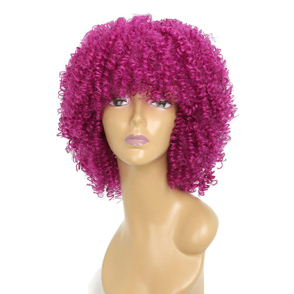 Afro Curly Hair Fluffy Fashion Short Synthetic Party Wigs for White Girls - CRIMSON 12INCH