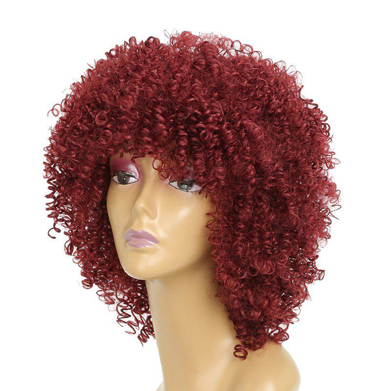 Afro Curly Hair Fluffy Fashion Short Synthetic Party Wigs for White Girls - RED WINE 12INCH